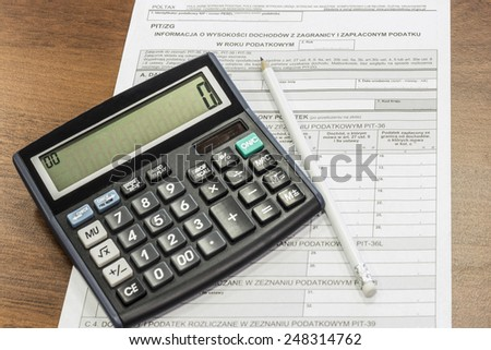 The settlement of annual tax, Polish Tax Forms, PIT/ZG - stock photo