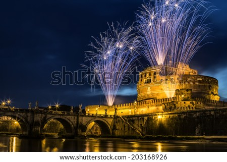 The seventh edition of the Pinwheel of Castel Sant'Angelo on the occasion of the celebration of Saints Peter and Paul, the patron of the city of Rome. - stock photo