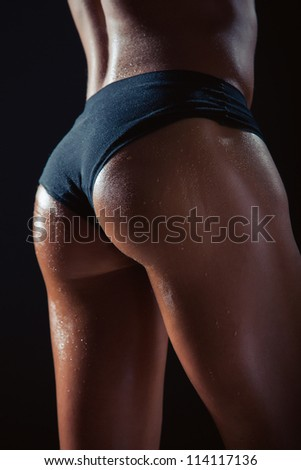 The sexy beautiful wet buttocks young girl - stock photo