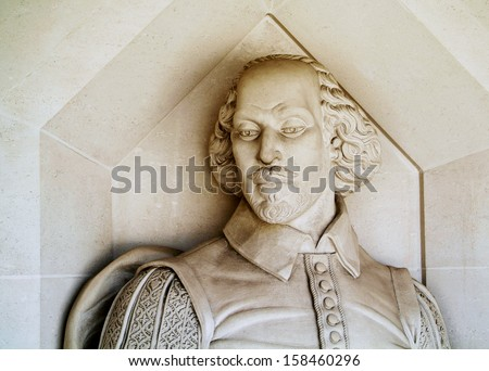 the Shakespeare monument outside the Guildhall Art Gallery in the City of London, UK - stock photo