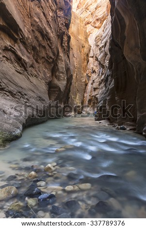 The shallow blue waters of the Virgin RIver flow between tall red cliffs in the Virgin Narrows slot canyon in Zion National Park, Utah. - stock photo