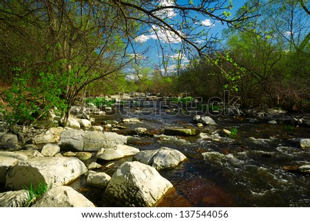 The shallow rapids of a babbling brook cascades of white rocks and boulders in the forest. - stock photo