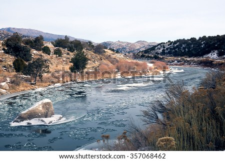 The shallow section of the Arkansas River in the upper reaches, the Rocky Mountains, Colorado, USA - stock photo