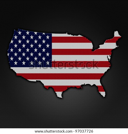The Shape of United States. The United States flag inside the map on carbon background.