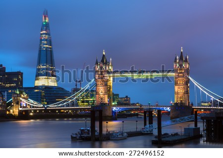 The Shard and Tower Bridge in London, England - stock photo