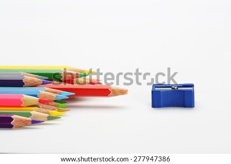 The sharpener pencil and color pencils group that the one blunt red pencil nearly sharpener. Conceptual Arts - stock photo