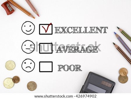 The sheet of paper with customer service evaluation concept