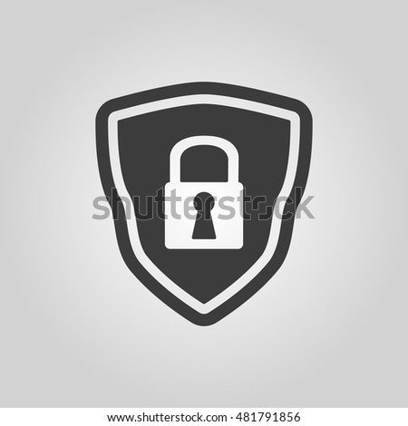 The shield icon. Security symbol. Flat  illustration