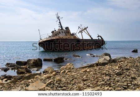 The ship cast by a storm ashore