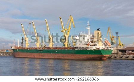 the ship is a bulk carrier at berth - stock photo