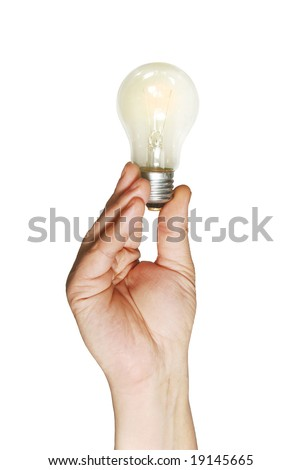 The shone lamp in the hand, is isolated on a white background