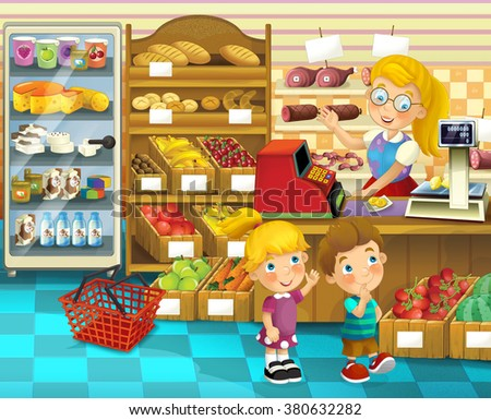 The shop scene with different goods and a clerk - happy illustration for children - stock photo
