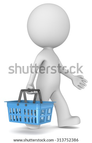 The Shopper. Male 3D character walking and carrying Blue Shopping Basket. Side view.