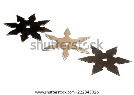 Shuriken is a weapon used by japanese fighter ninja stock photo