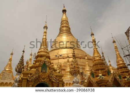 The Shwedagon Pagoda and gilded stupa located in Yangon, Myanmar. - stock photo