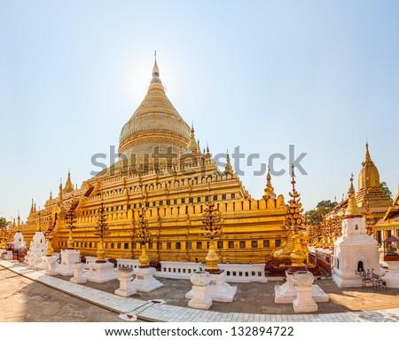 The Shwezigon Pagoda a Buddhist temple in Nyaung-U,  Bagan, Burma - stock photo