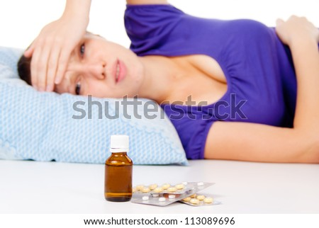the sick girl looking for a cure isolated on white background