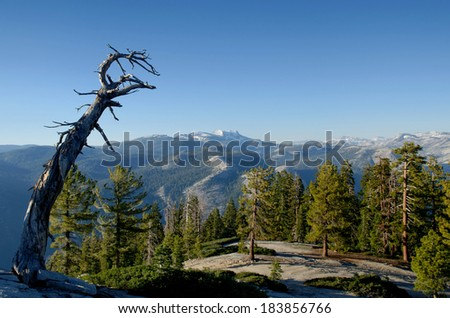 The Sierra Nevada as seen from Sentinel Dome, Yosemite National Park - stock photo