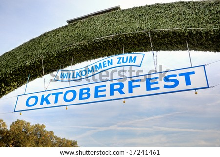 The sign above the main entrance to the Oktoberfest festival. - stock photo