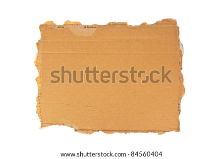 the sign of a homeless man out of cardboard. isolated on white background - stock photo