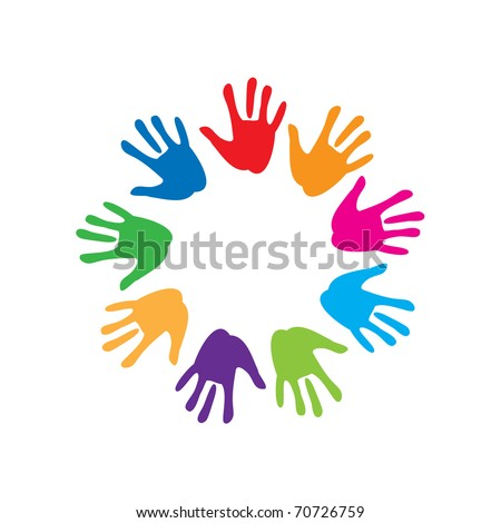the sign of peace and friendship - colorful palm - stock photo