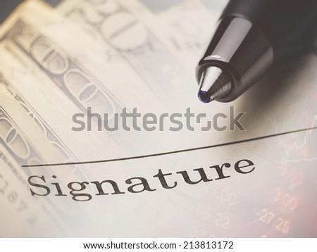The signature - stock photo