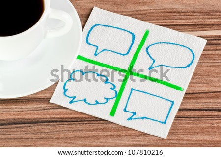 The signs of talk on a napkin and cup of coffee - stock photo