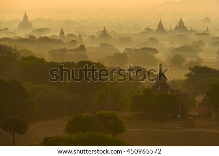 The silhouette Ancient temple on sunset ,Bagan Mandalay Myanmar