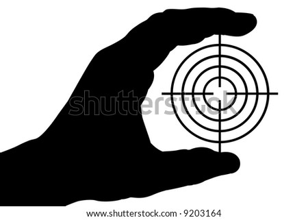 The silhouette of a man's hand holds a target. Isolated on white [with clipping path]. - stock photo