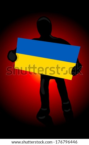 The silhouette of a man with the flag of Ukraine and fire revolution background - stock photo