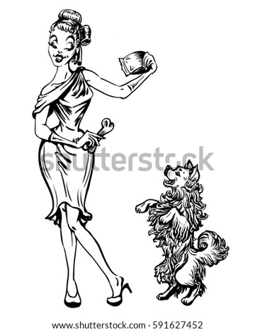 The Silhouette Of A Retro Pin Up Woman In Beautiful Dress Playing And Feeding