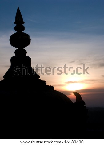 The silhouette of a temple dome in Melkote, India.