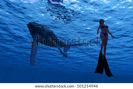 The silhouette of a whale, and divers under water.