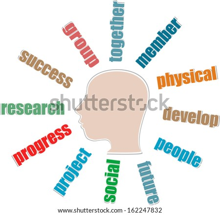 the silhouette of his head with the words on the topic of social networking, raster - stock photo