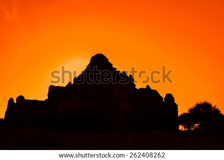 The silhouette of the pagoda, the old temple in Bagan, Myanmar, Burma - stock photo