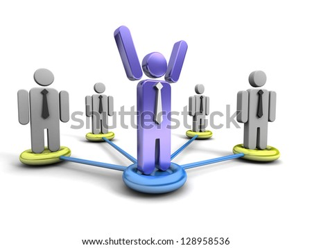 The silhouette of the successful businessman costs above others - stock photo