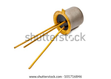 The silicon transistor on a white background - stock photo