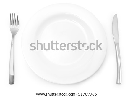 The Silver plug and spoon and plate isolated on grey background