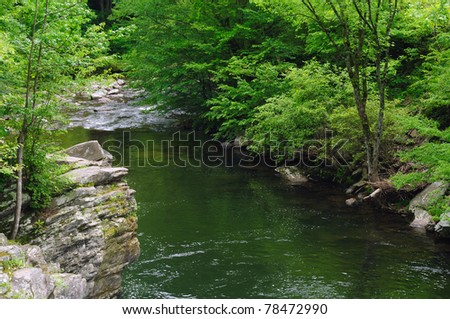 The Sinks - a placid stretch between rapids on the Little River in Great Smoky Mountains National Park - stock photo