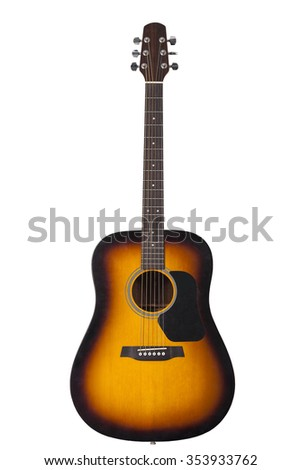 the six-string guitar wooden yellow colors isolated on white background