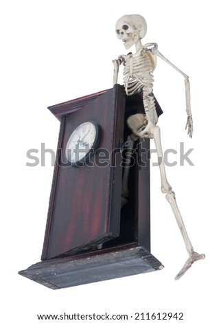 The skeleton is the internal framework of the body emerging from Clock of time - path included - stock photo