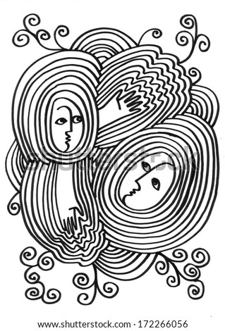 The sketched doodle illustration of fantasy figures in the waves and water ripples with hands on the white water - stock photo