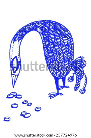 The sketched illustration of a fantasy blue bird pecking the seeds made manually with the marker and ink pen  - stock photo
