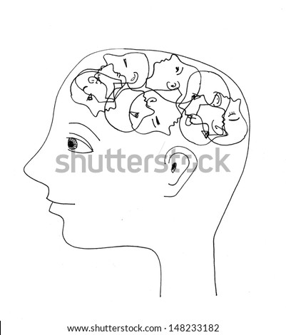 The sketched illustration of a figure - stock photo
