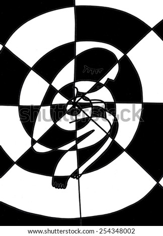 The sketched illustration of the crouching figure in the center of the abstract geometrical black and white spiral hand drawn with the ink pen - stock photo