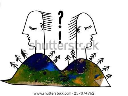 The sketched illustration with an applique work piece of the two people on the hills back to each other with a question mark - stock photo