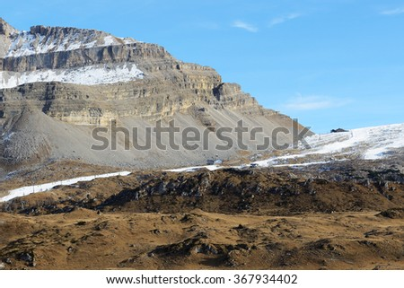 The ski slope with a view on Dolomiti mountains, Madonna di Campiglio, Italy - stock photo