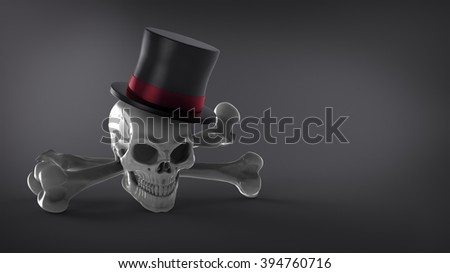 The skull in the hat with the Tibia on the dark background