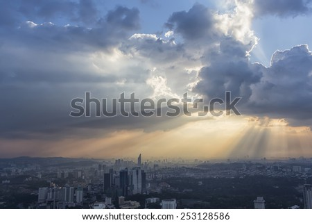 the sky above the city - stock photo