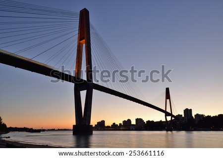 The SkyBridge is a cable-stayed bridge for sky trains between New Westminster and Surrey - stock photo